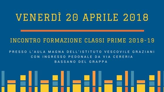 20 Aprile 2018 Incontro Genitori Classi Prime 2018-19
