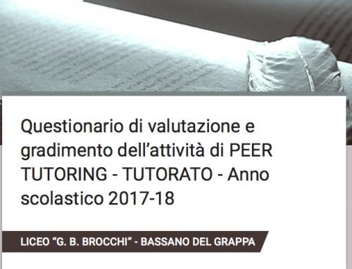 Questionario di gradimento PEER TUTORING – TUTORATO 2017-18