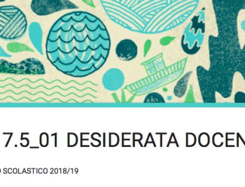 DESIDERATA DOCENTI 2018-19