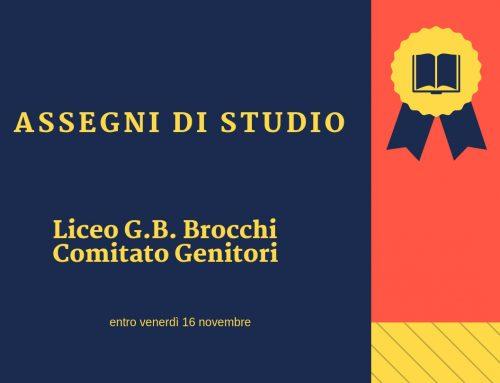 Assegni di Studio Liceo G.B. Brocchi e Comitato Genitori