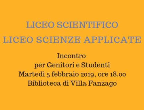 Liceo Scientifico e Scienze Applicate 2019-20 Incontro per Genitori e Studenti 5 febbraio 2019